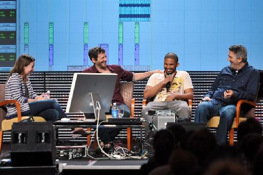 """Dr. Luke (in red) during his 2011 ASCAP """"I Create Music"""" EXPO Master Session in which he gave attendees a look at how he produced and co-wrote hits for Katy Perry, Ke$ha and others."""