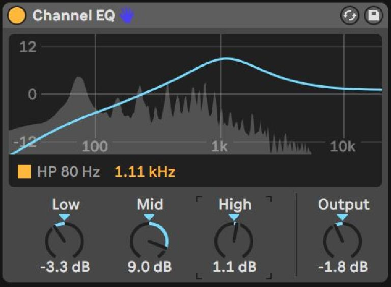 Channel EQ with HP engaged, fixed-Q sweepable mid at 1.11 kHz, a slight Low reduction and High boost with Output reduced to compensate for emphasis.