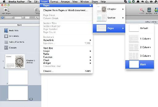 In iBooks author add two blank pages to your project