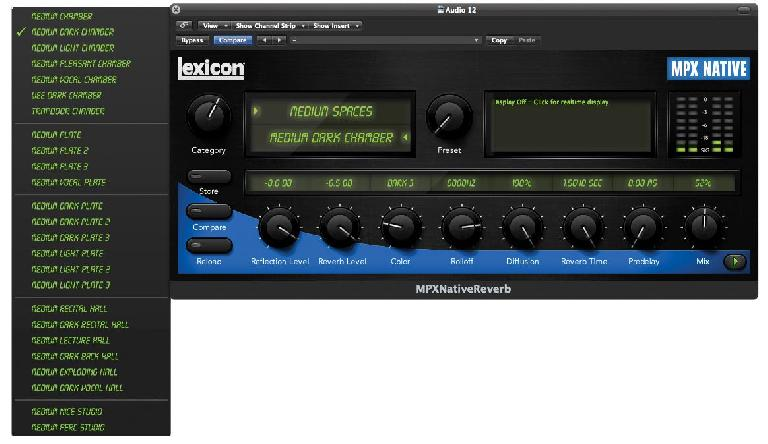 (Pic 3) Most reverb plug-ins will give you a pretty wide selection of different effect types.