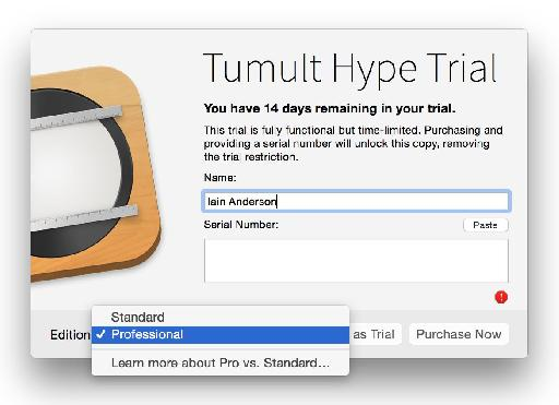 Grab the trial from tumult.com rather than the App Store.