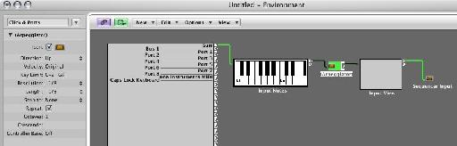 Figure 6: Inserting an arpeggiator in the Clicks & Ports layer. Of note, with this setup, only the arpeggiated notes will be recorded in Logic, not the chords themselves.