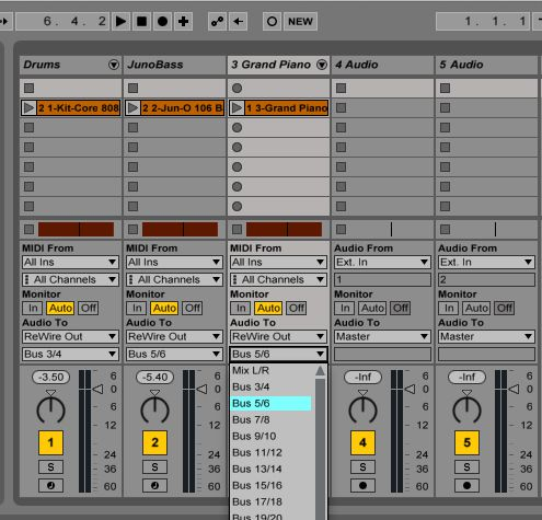 Changing the Rewire slave outputs in Ableton Live.