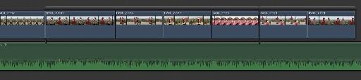 A music video on the primary storyline, with video clips above, some in secondary storylines.