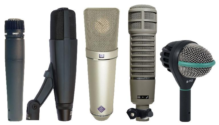L->R: Popular mics for recording electric guitar (SM57, 421, U87) and bass (RE20, D112)