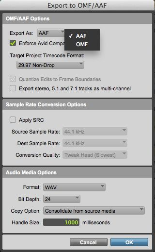 (Fig 2) Export Selected Tracks as New AAF/OMF…