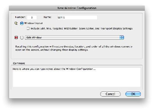 The New Window Configuration dialog, showing default options