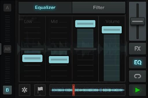 EQ and add filtering to each deck on the fly to sculpt and shape the sound of the tracks.