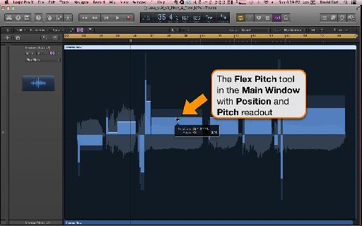 The Flex Pitch Tool displays a useful position and pitch readout.