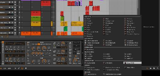 The Instruments and effects included with Bitwig.