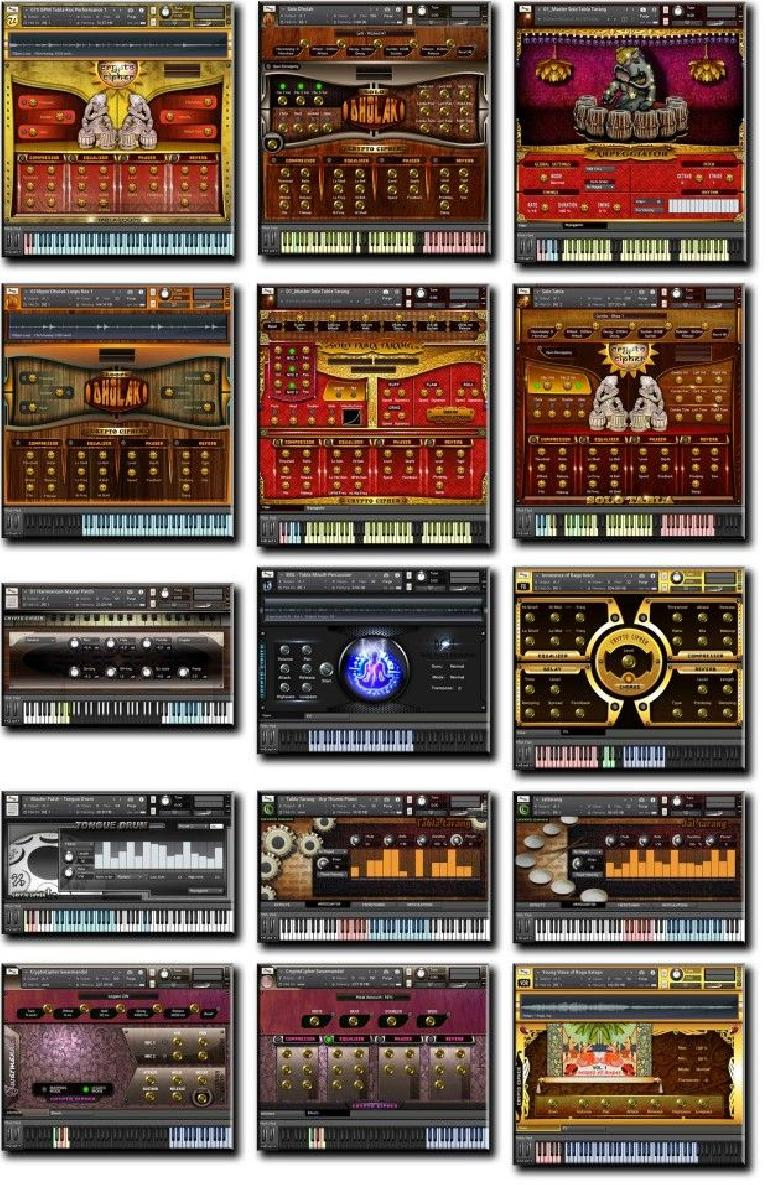 A selection of the Kontakt instruments already available from Crypto Cipher