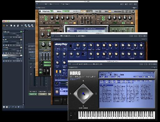 A single instance containing Sylenth and 32-bit Korg Legacy Collection plugins.