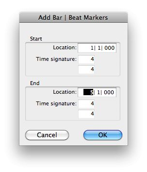Entering the Start and end locations into the 'Identify Beat' dialog.