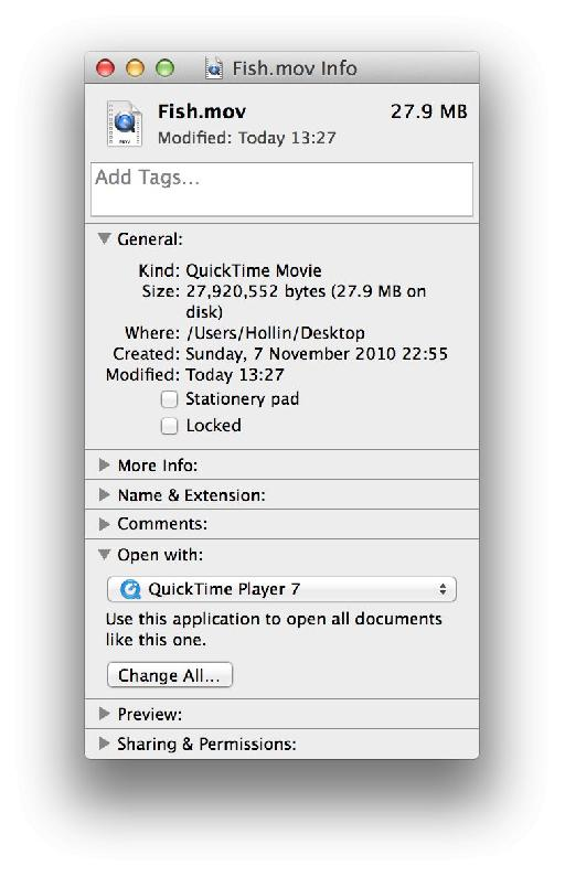 Drag and drop movies onto QT Player 7 or use the Get Info window to change the helper app association