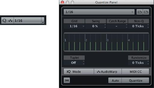 Quantize settings in the Project Window and Editors (left), and the Quantize Panel (right).