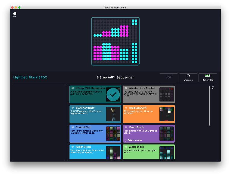 The Custom Lightpad App within BLOCKS Dashboard