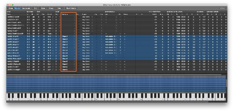 Exclusive Groups (for polyphonic hihat openclose control) in the Instrument Editor Group page
