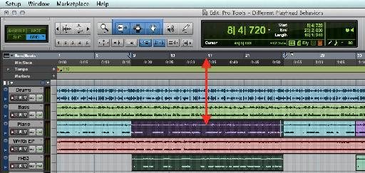 A Pro Tools Session with linked Edit and Playback selections.