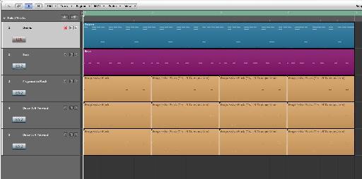 Three tracks with 4 regions on each