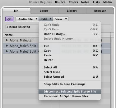 Disconnect Selected Split Stereo File