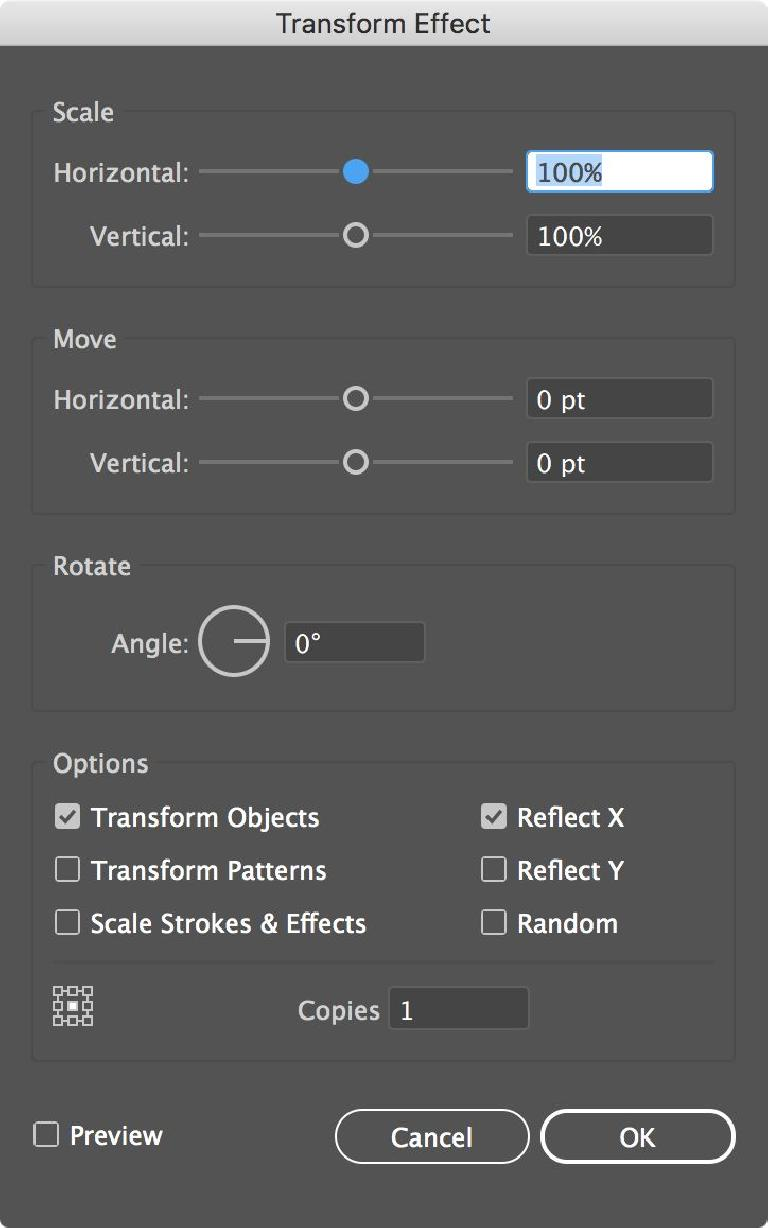 The Transform settings you'll need: Reflect X, 1 copy
