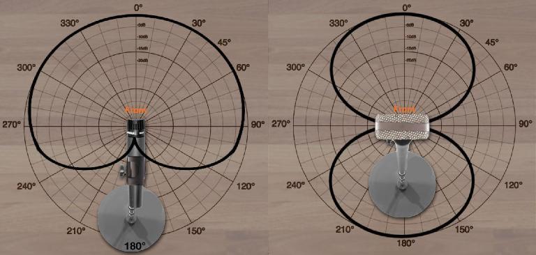 A standard cardioid mic pattern (L) vs a bi-directional (Figure-8) mic pattern (R)