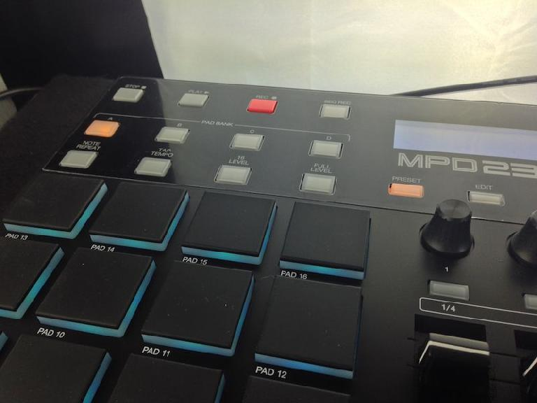 The pads and pad bank controls on the Akai Pro MPD232