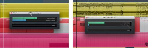 CPU performance on Cubase 7.5 (left) and Cubase 8 (right) using identical projects, playback locations, and buffer settings.
