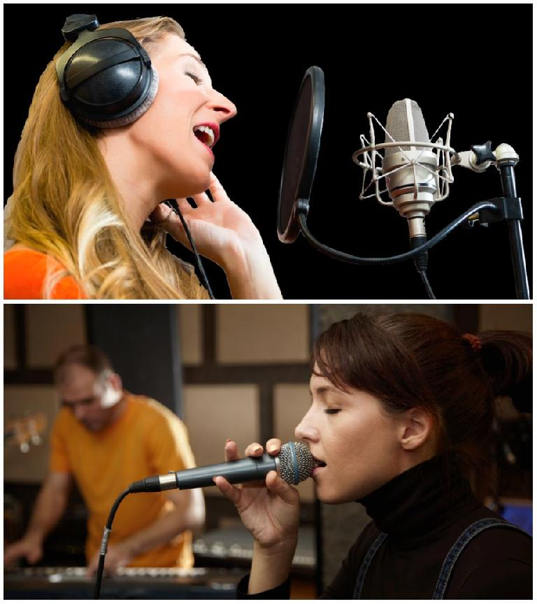Typical studio vocal miking (top) vs live vocal miking (bottom)