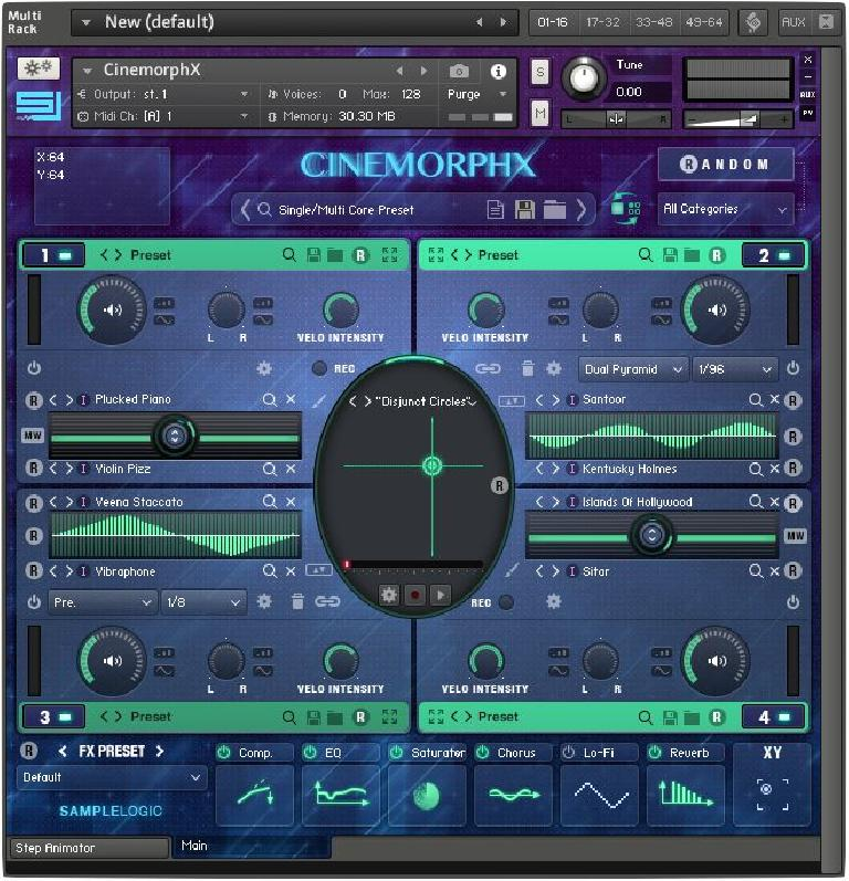 Fig. 6—A Multi-Core Instrument in CinemorphX, with the XY Grid and Global (Master) Effects.