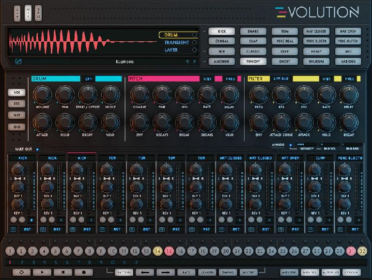 Evolution's primary Mix view with a Punchy Kick Drum layer selected.
