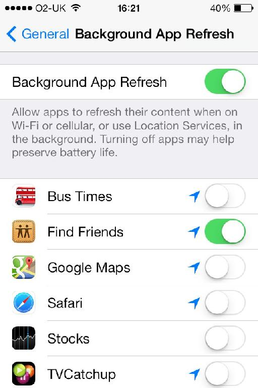 Choose which apps can continue doing things in the background, and potentially save on battery.