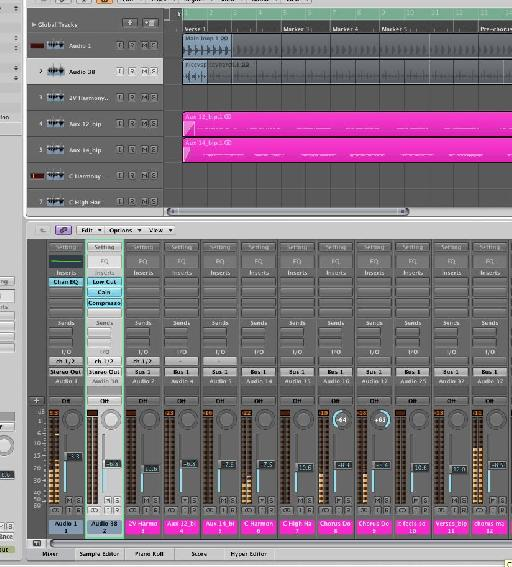 Drum loops are added to the arrangement