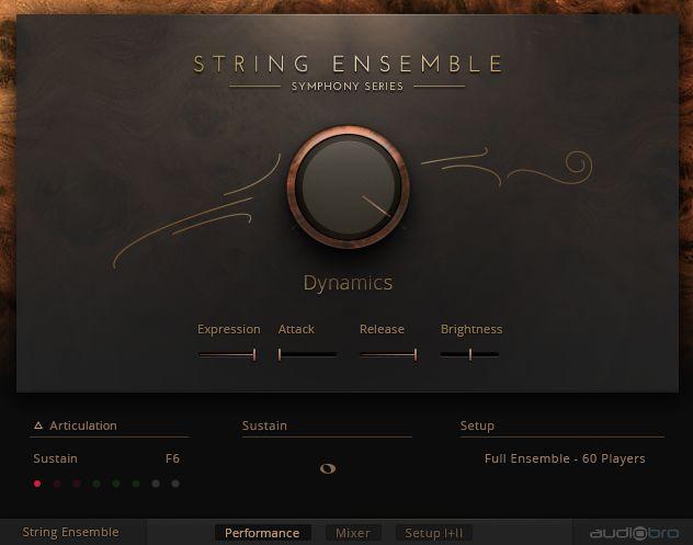 NI Symphony Series – String Ensemble main screen.