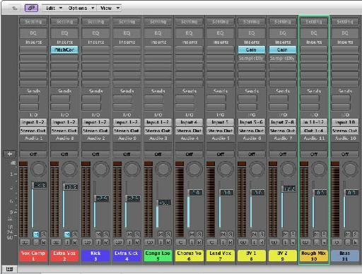 Mixer view from a recent production, reflecting the order of the tracks in the arrangement