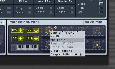 MIDI learn can be used to control any parameter