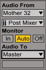 In/Out routing settings on the destination audio track.