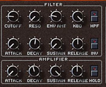 Figure 4: Dedicated Filter and Amp EG's on the Pro-53 plugin, a faithful emulation of the Sequential Circuits Prophet 5