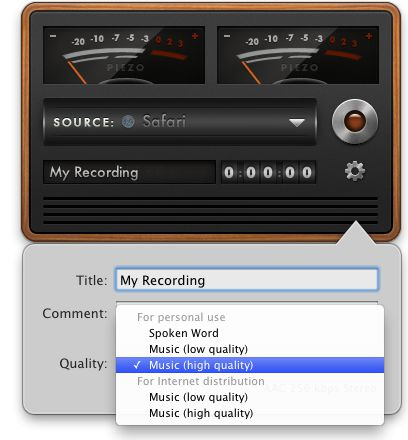 Choose preset file types and recording quality
