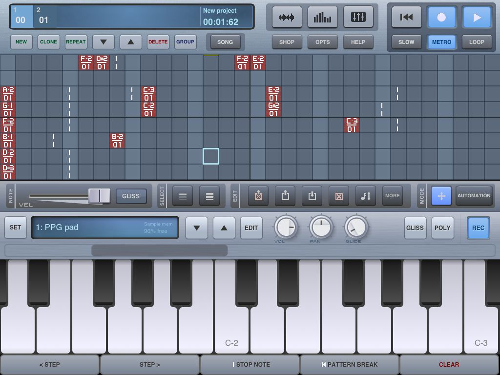 The sequencer makes it easy to see what notes have been recorded as well as editing them by touch.