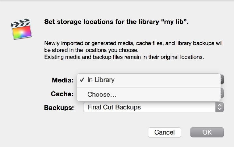Before you import, you can choose to store your Library's media wherever you wish, then import your media to the Library
