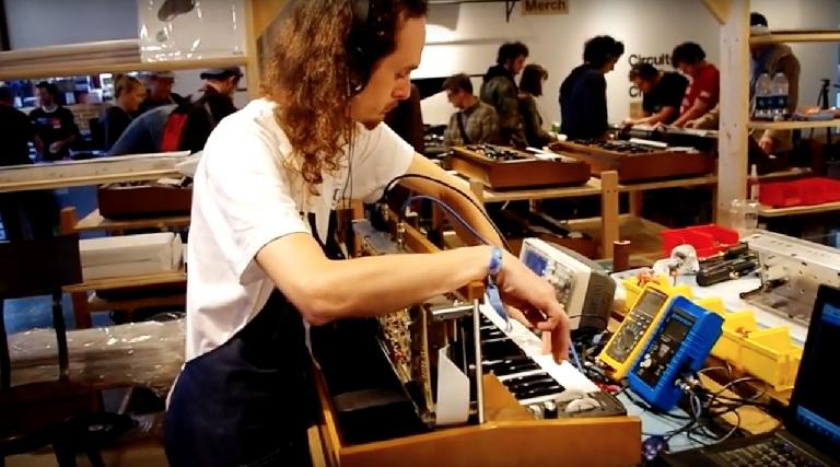 Making the Minimoog Model D in the MoogFest Pop-Up Factory.