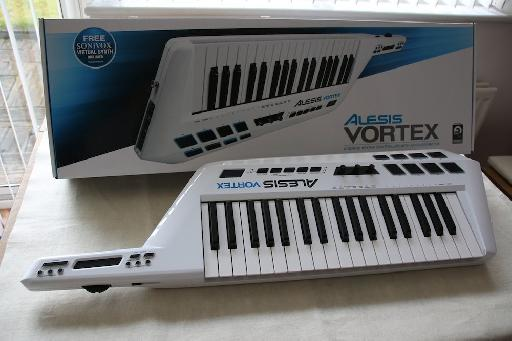 It's a keytar! And it's white!