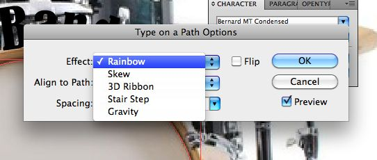 Type on a path options