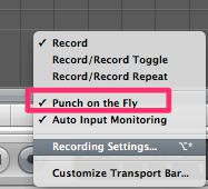 Accessing some recording settings by holding the mouse down on the record button. Punch on The Fly is enabled.