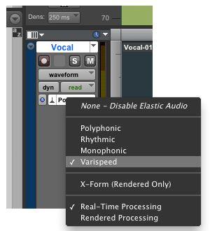 Choosing the Varispeed Elastic Audio plug-in