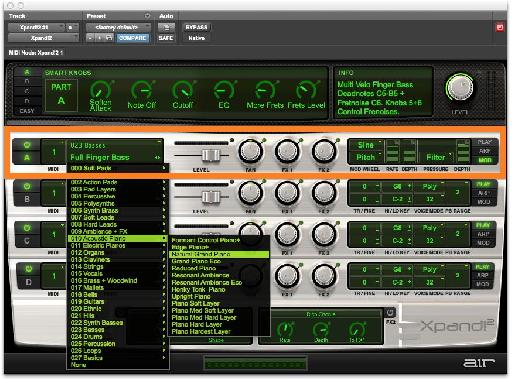 Fig 2 The Part area in Xpand!2, with the menu of preset instruments.