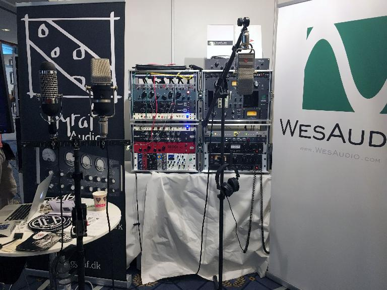 AEA Ribbon mics on display alongside other high-end audio gear