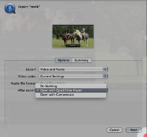 The 'After Export' menu option