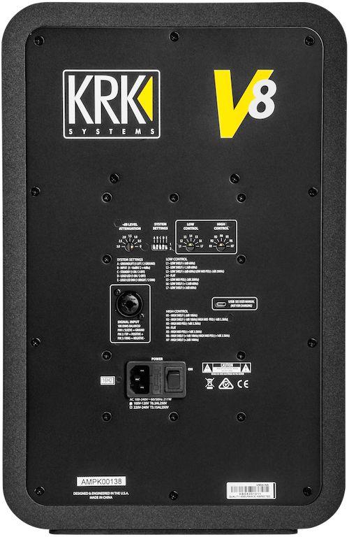 The KRK V8 S4 rear panel